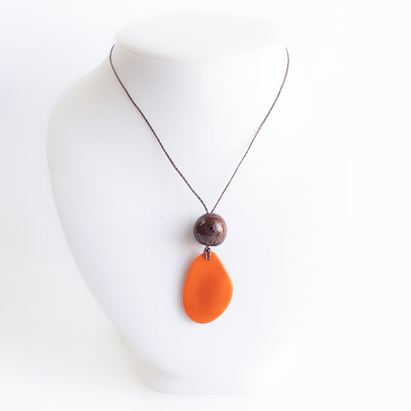 Tagua Single Slice & Bead Pendant Necklace