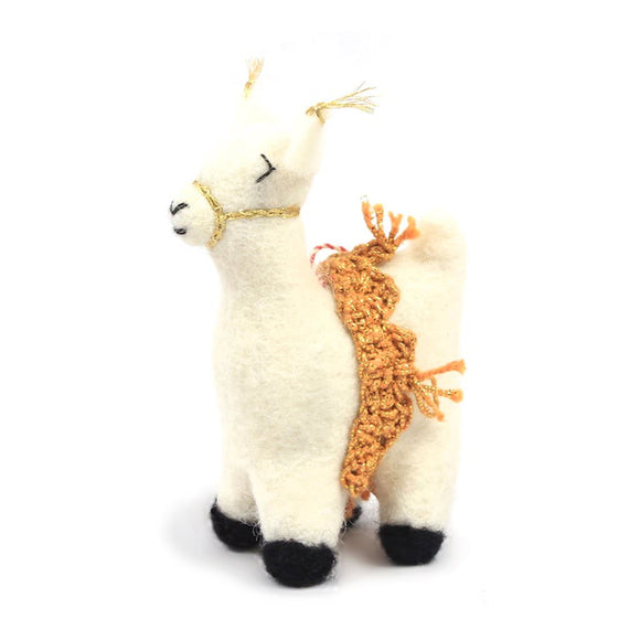 Felt Ornament - Llama with Gold