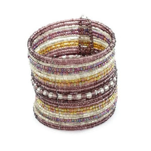 Purple & Bronze Beaded Cuff