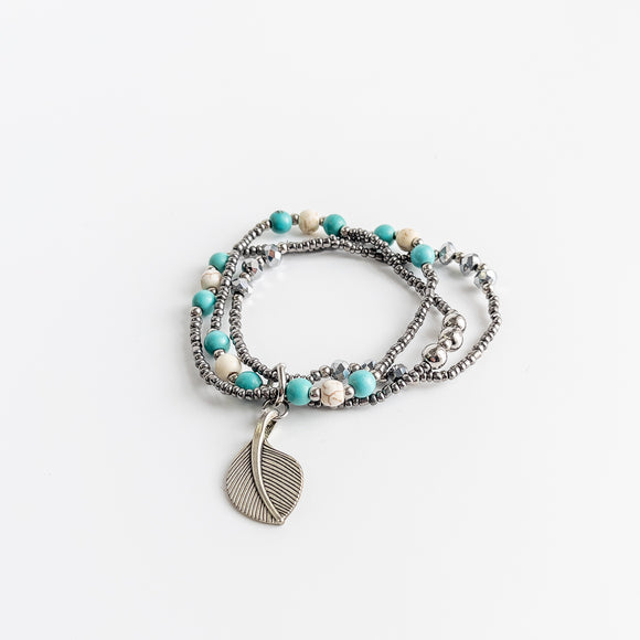 Triple Strand Bracelet With Leaf Charm