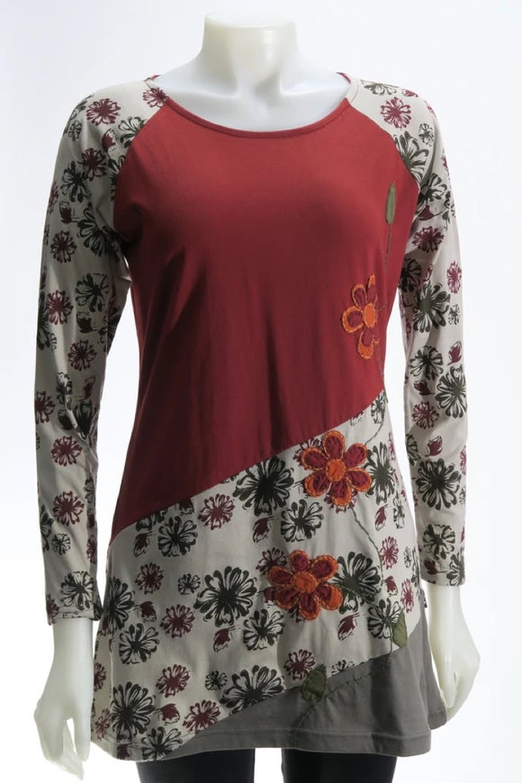 Flower Print Applique Tunic