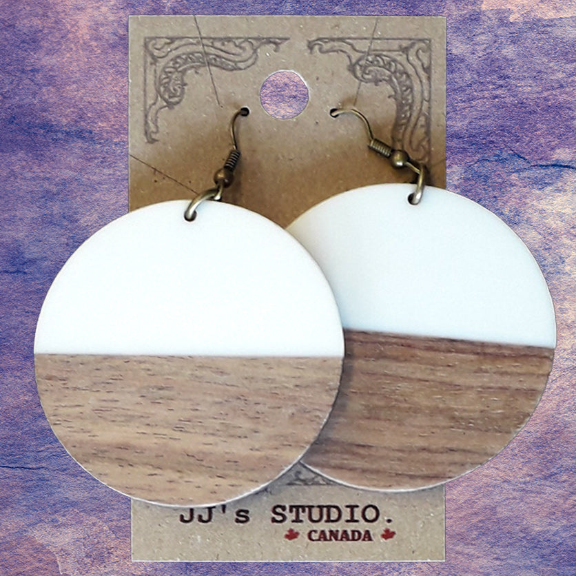 Resin & Wood Earring - Large Disk