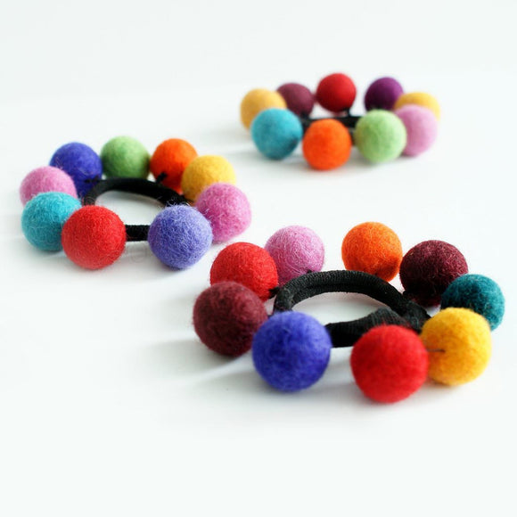 Felted ball hair tie
