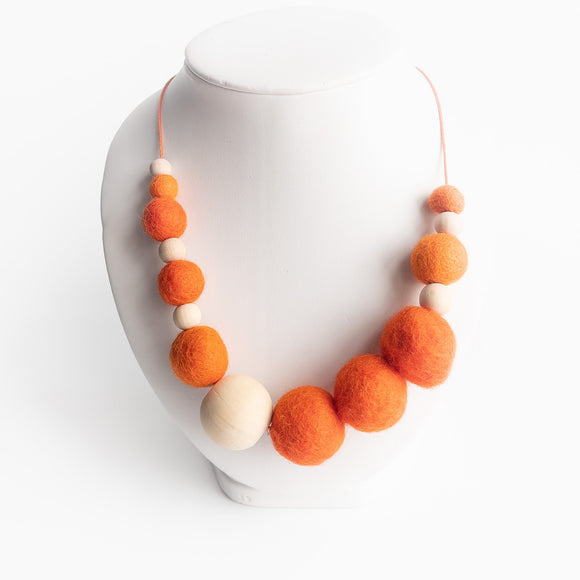 Felt Ball & Wood Bead Necklace