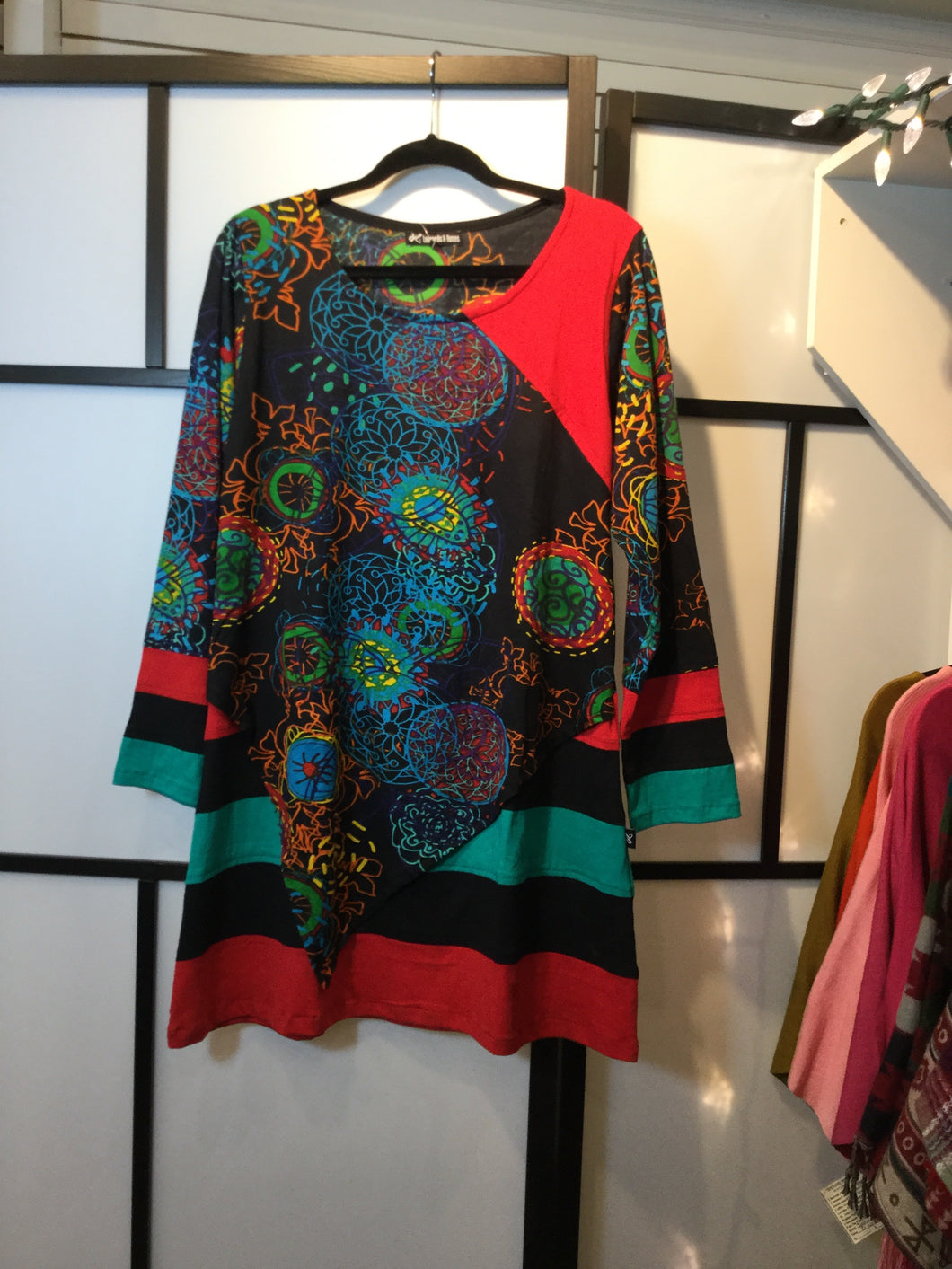 Leopards & Roses multi-fabric tunic