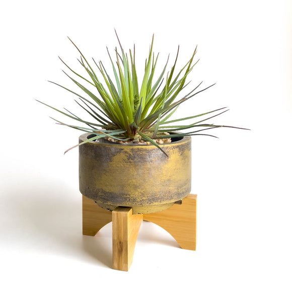 Bronzed ceramic plant pot with bamboo wooden stand