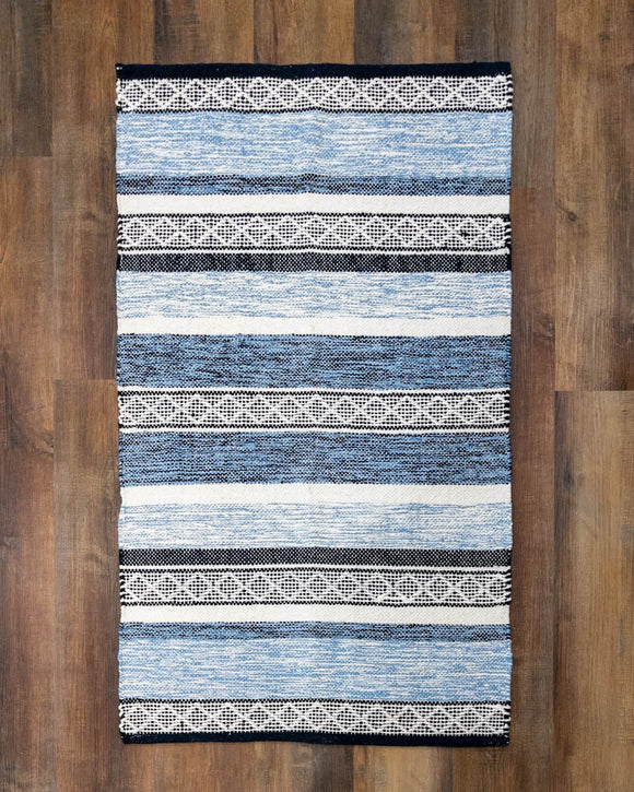 Blue & Black Stripe Area Rug
