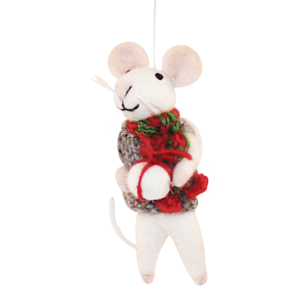 Mouse with Christmas Scarf