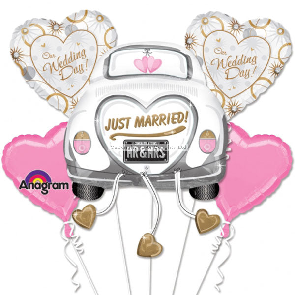 Just Married Balloon Wedding Bouquet (nohelium)