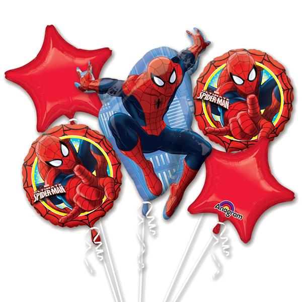 Spider-Man themed balloon bouquet ( no helium)
