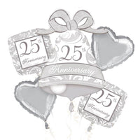 25th Silver wedding Anniversary Balloon set (no helium)