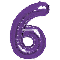 "Number 6 40"" foil balloon all image colours available. (No Helium)"