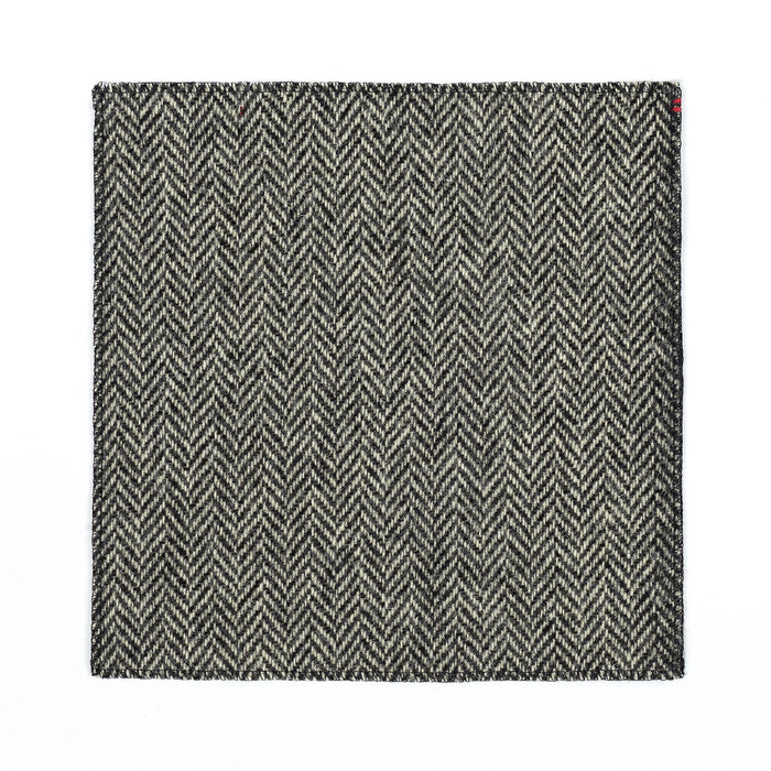 Rampley & Co Black and White Herringbone Tweed Pocket Square