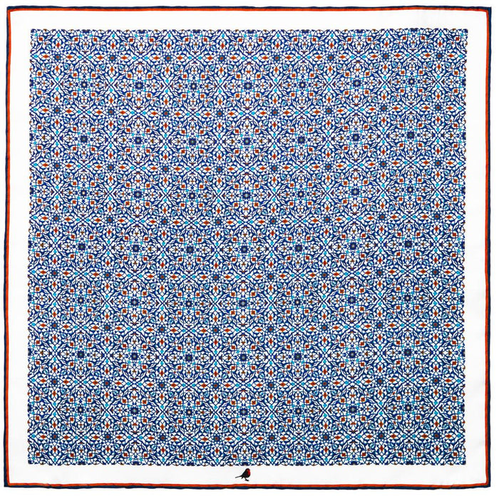 Rampley & Co Blue Arabesque Tile Pocket Square