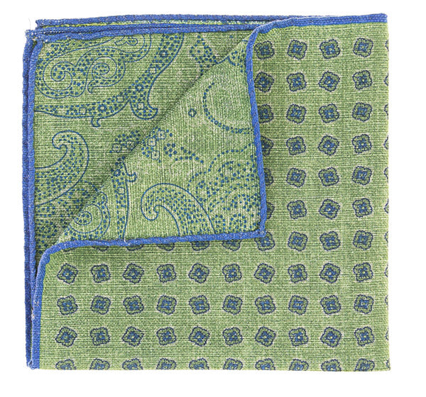 Geoff Nicholson Green and Blue Printed Pocket Square