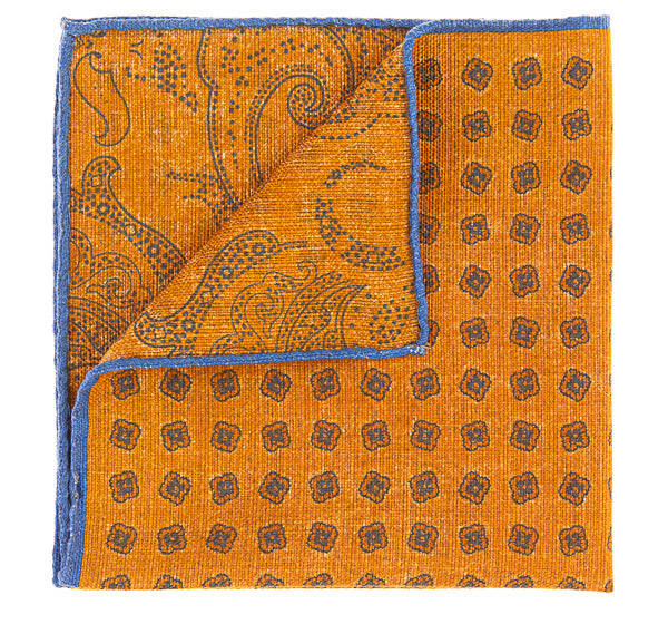 Geoff Nicholson Orange and Blue Printed Pocket Square