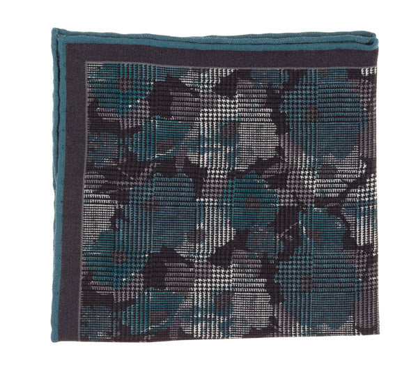 Geoff Nicholson Teal, Navy and Grey Floral Printed Pocket Square