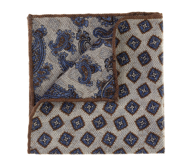 Geoff Nicholson Grey, Brown and Blue Printed Pocket Square