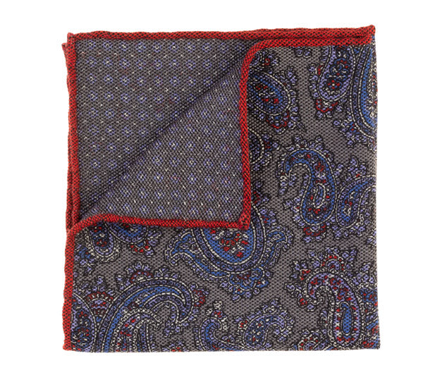 Geoff Nicholson Grey and Blue Paisley Printed Pocket Square