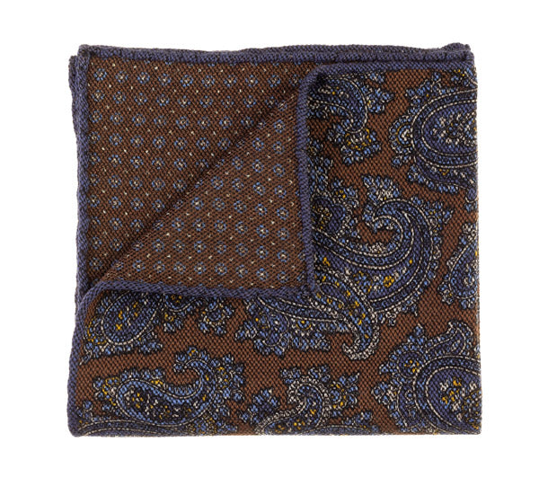 Geoff Nicholson Brown and Blue Paisley Printed Pocket Square