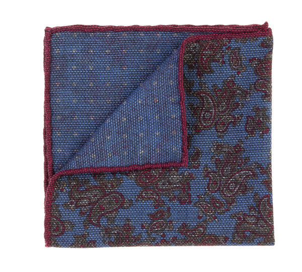 Geoff Nicholson Blue and Red Paisley Printed Pocket Square