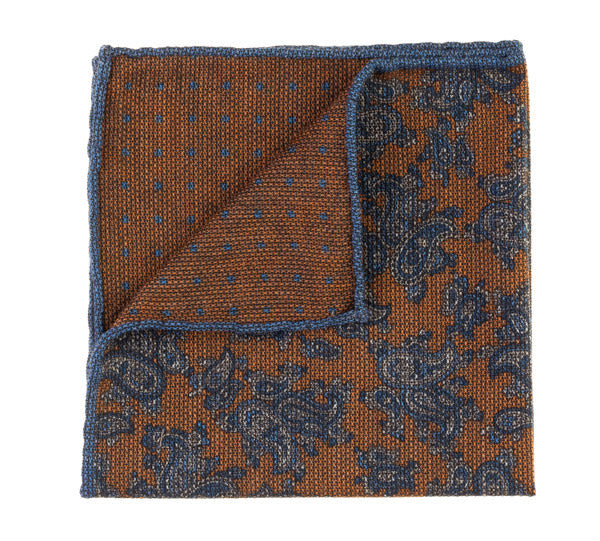 Geoff Nicholson Orange and Blue Paisley Printed Pocket Square