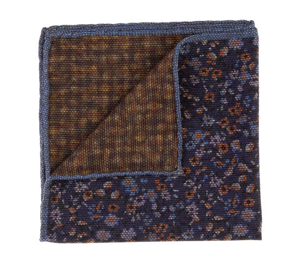 Geoff Nicholson Navy and Brown Floral Printed Pocket Square