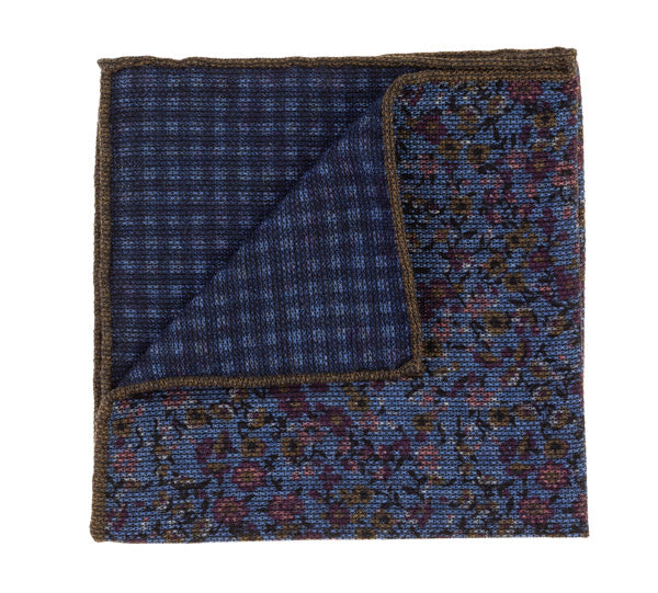 Geoff Nicholson Blue, Wine and Brown Floral Printed Pocket Square