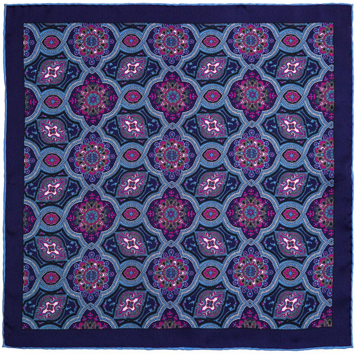 Rampley & Co Blue and Pink Silk Paisley Pocket Square