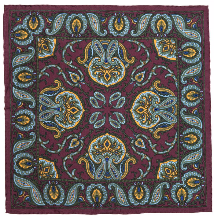 Rampley & Co Purple Silk Paisley Pocket Square