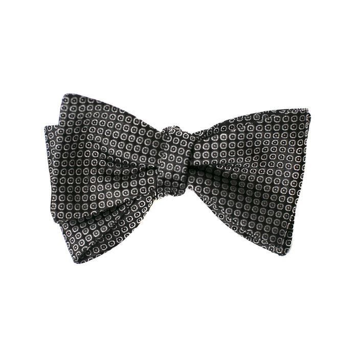 Black and Silver Textured Dot Bow Tie