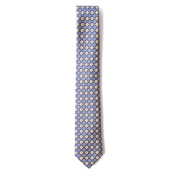Navy and Gold Geometric Printed Tie