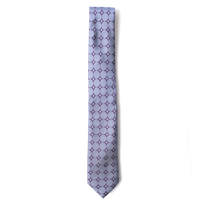 Purple and Blue Geometric Printed Tie