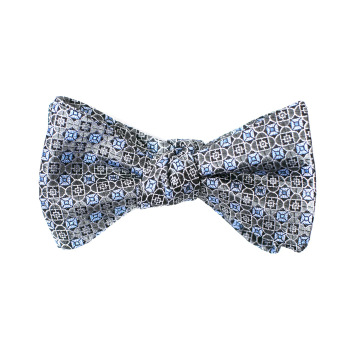 Blue and Silver Geometric Printed Bow Tie