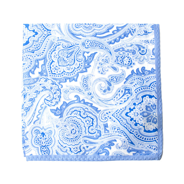 Light Blue Paisley Pocket Square