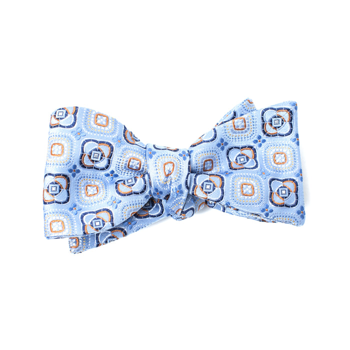 Light Blue Square Print Bow Tie