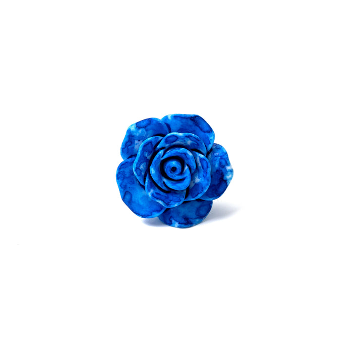 Blue Splash Rose Lapel Pin