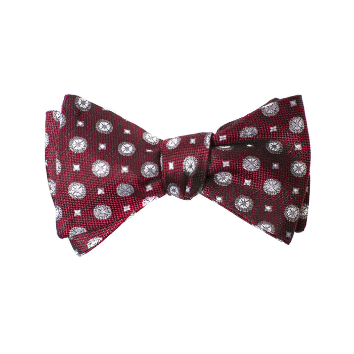 Maroon and Grey Geometric Printed Bow Tie