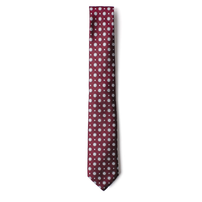 Maroon and Grey Geometric Printed Tie