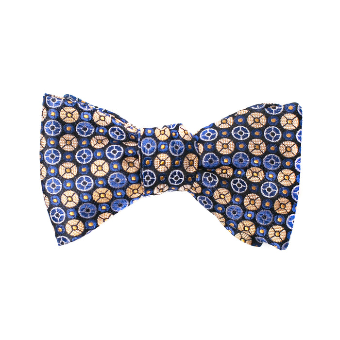 Navy and Gold Geometric Printed Bow Tie