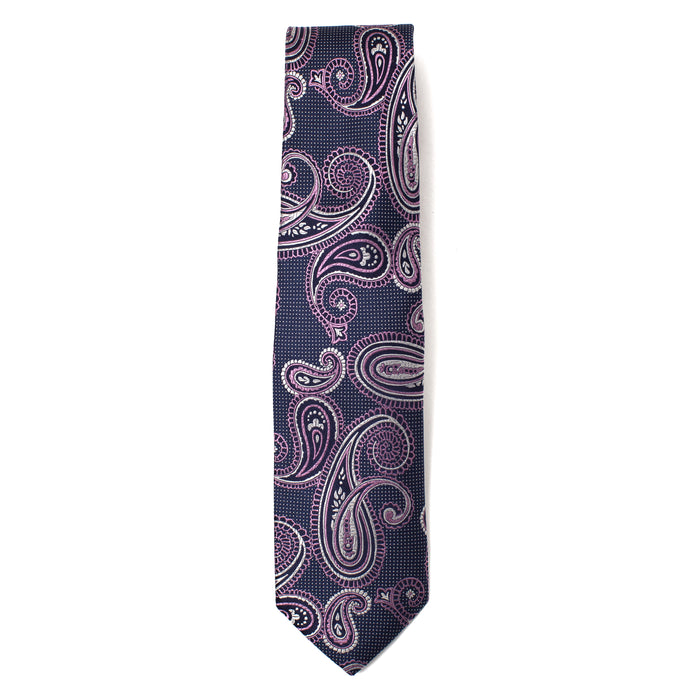 Navy and Pink Paisley Print Tie