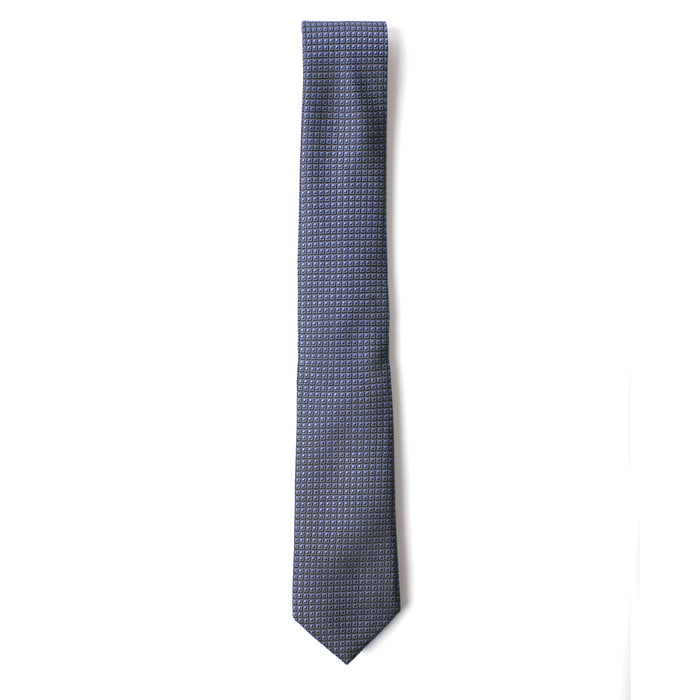 Blue Geometric Textured Tie