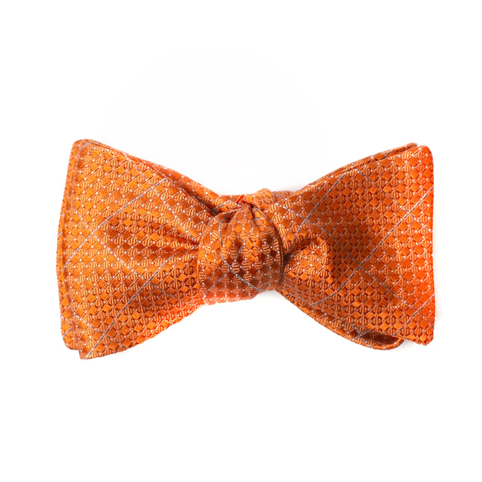 Orange Window Pane Printed Bow Tie