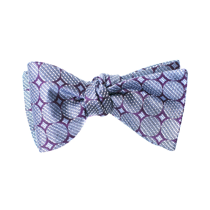 Purple and Blue Geometric Printed Bow Tie