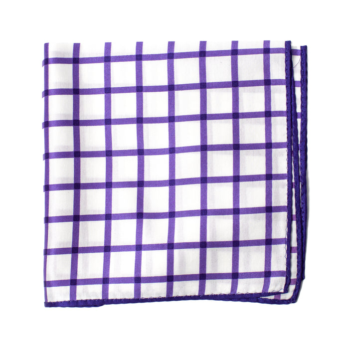 Purple Checked Print Pocket Square