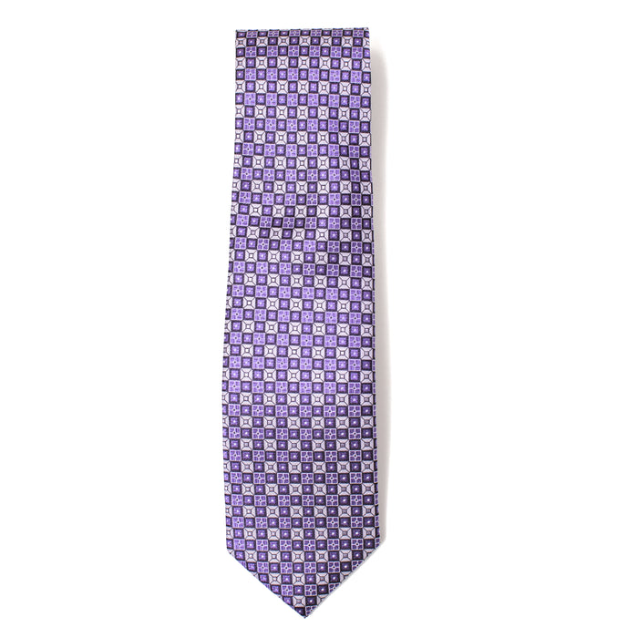 Purple Two-Tone Geometric Print Tie