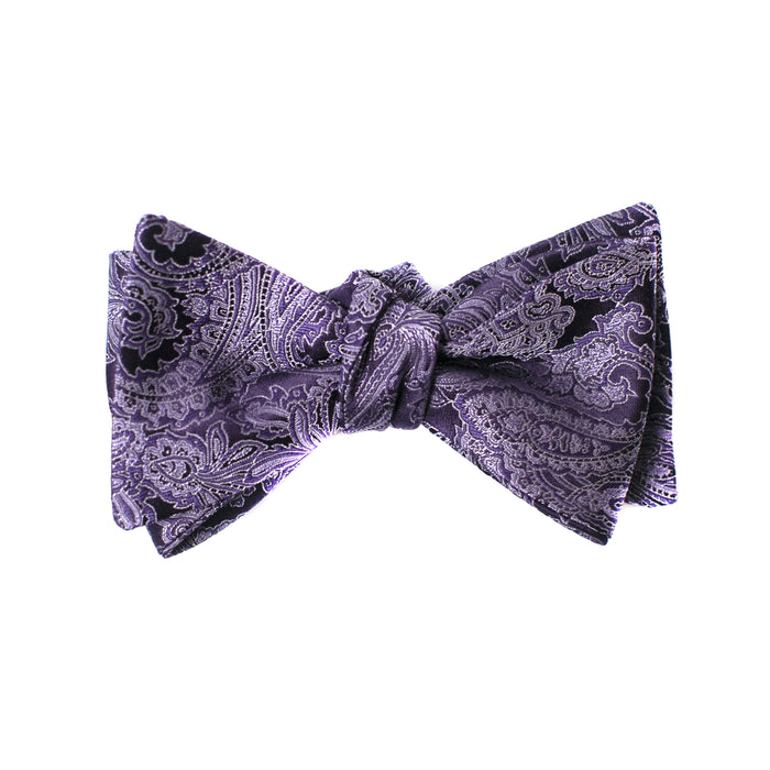 Purple and Lavender Paisley Printed Bow Tie