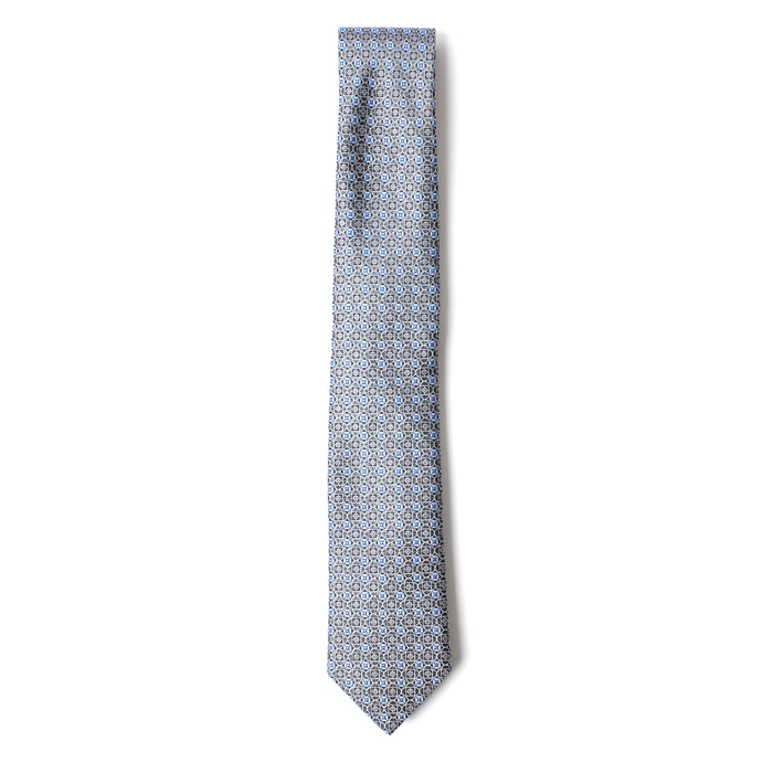 Blue and Silver Geometric Printed Tie