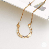 Custom Engraving 925 Sterling Silver/Gold Plated - Horseshoe Necklace