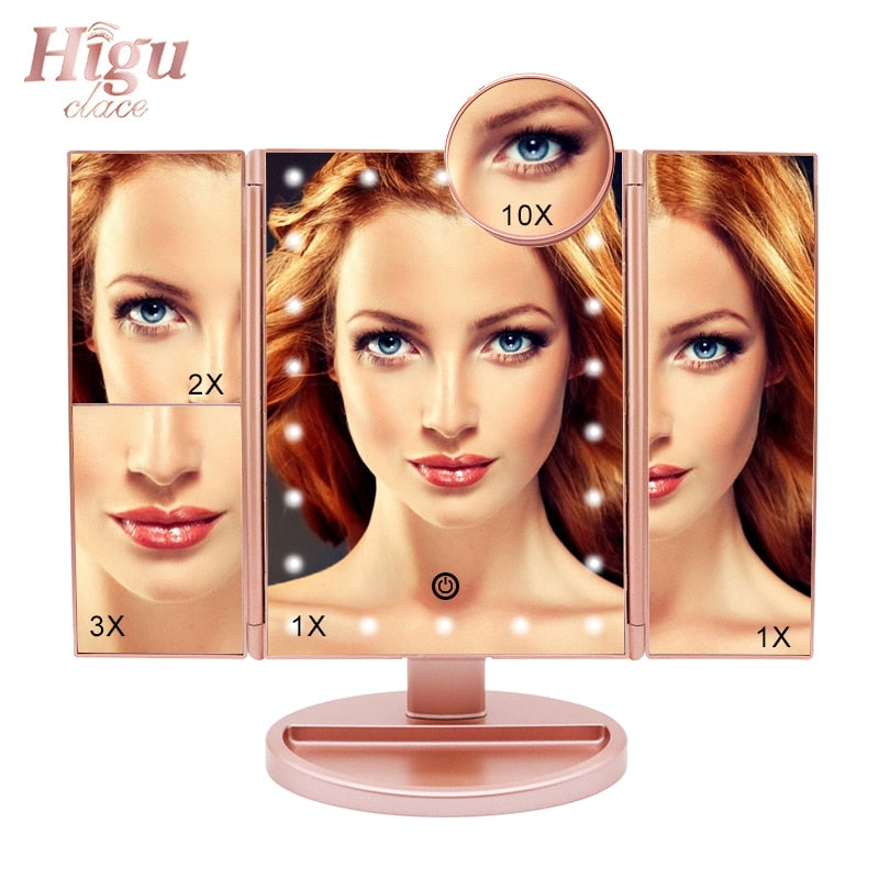 Makeup Mirror With LED Lights Touch Screen 3 Fold Adjustable 180 Degrees